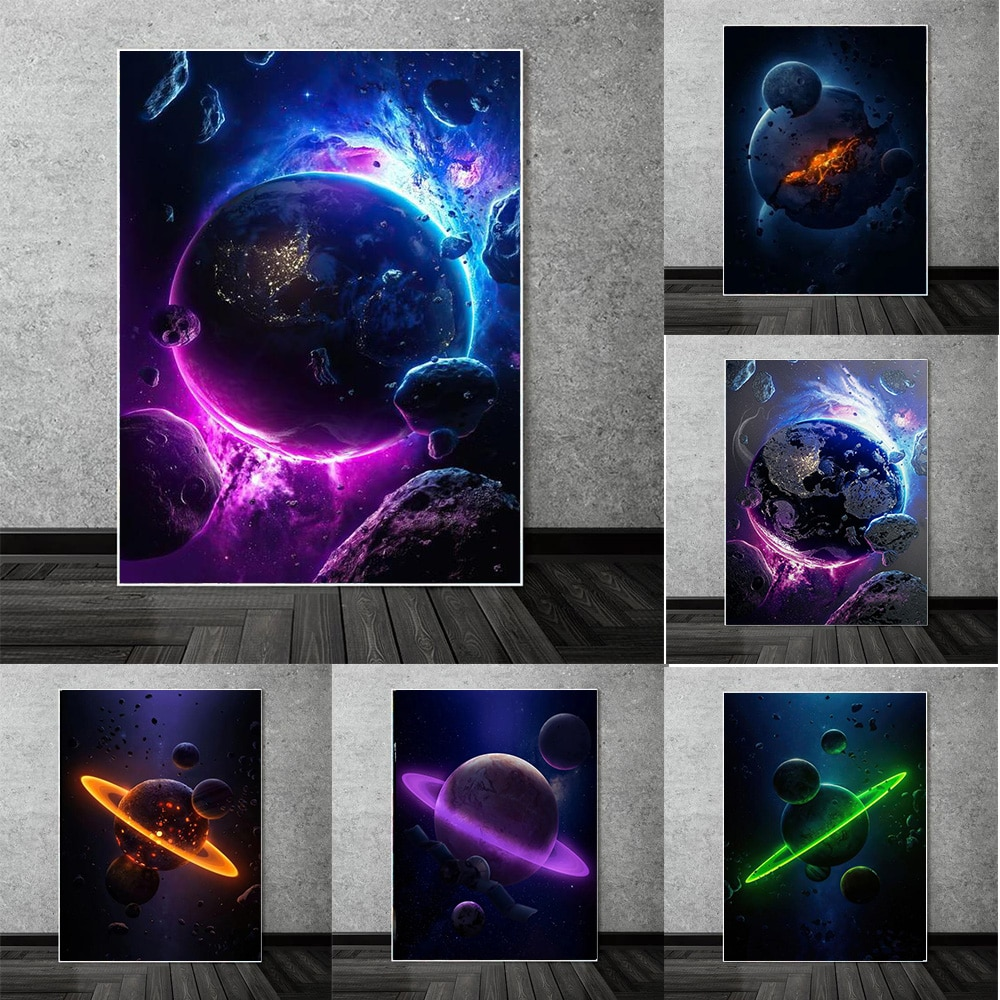 Настенный постер «Вселенная, планета», абстрактный метеорит