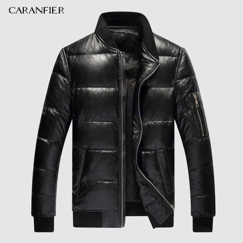 CARANFIER 2019 Мужская зимняя теплая черная натуральная кожа настоящая овчина куртка-бомбер на утином пуху пальто Jaqueta De Couro Deri Ceket