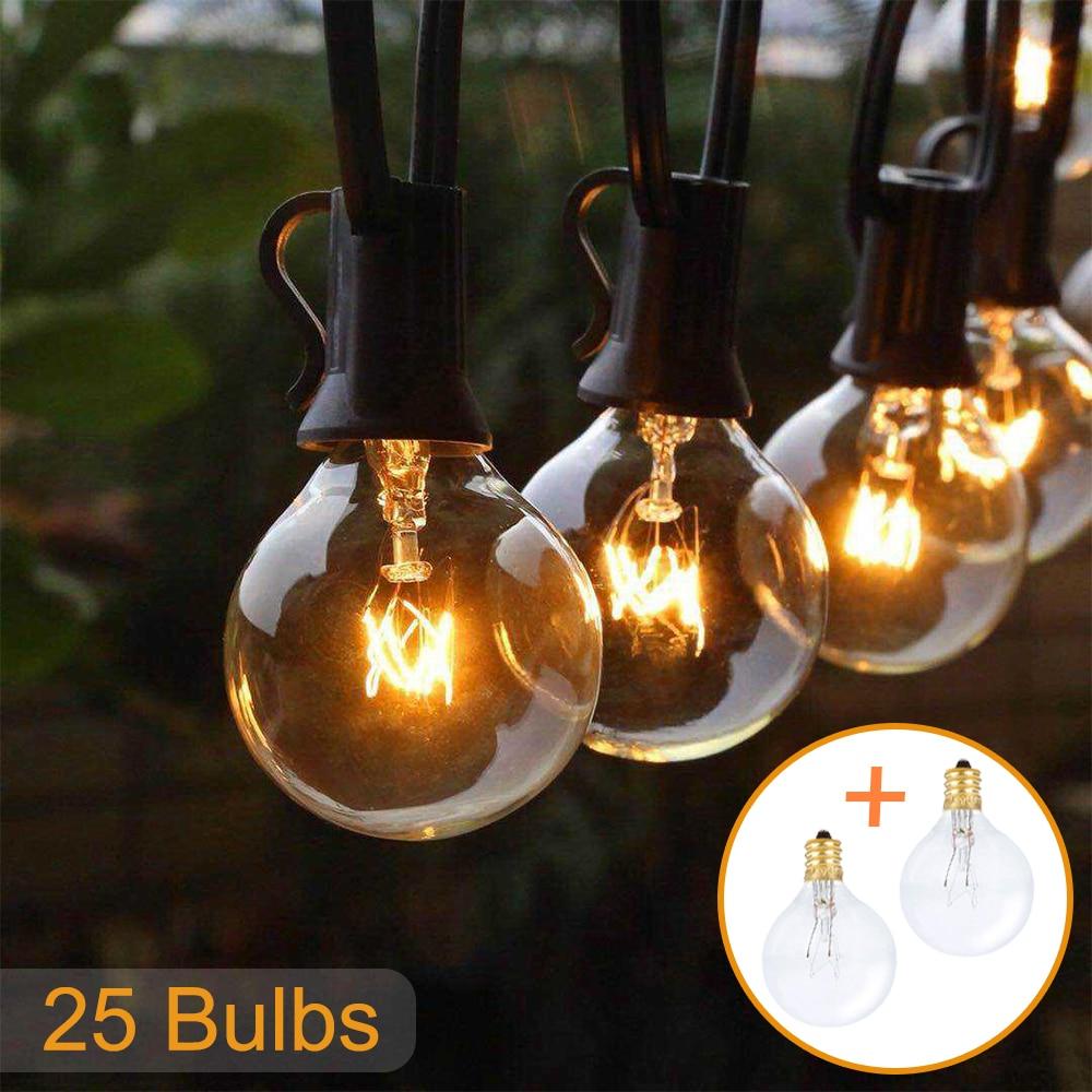 50FT 25FT Patio string light fairy light G40 Globe Festoon bulb outdoor/indoor light for party garden garland wedding Decoration