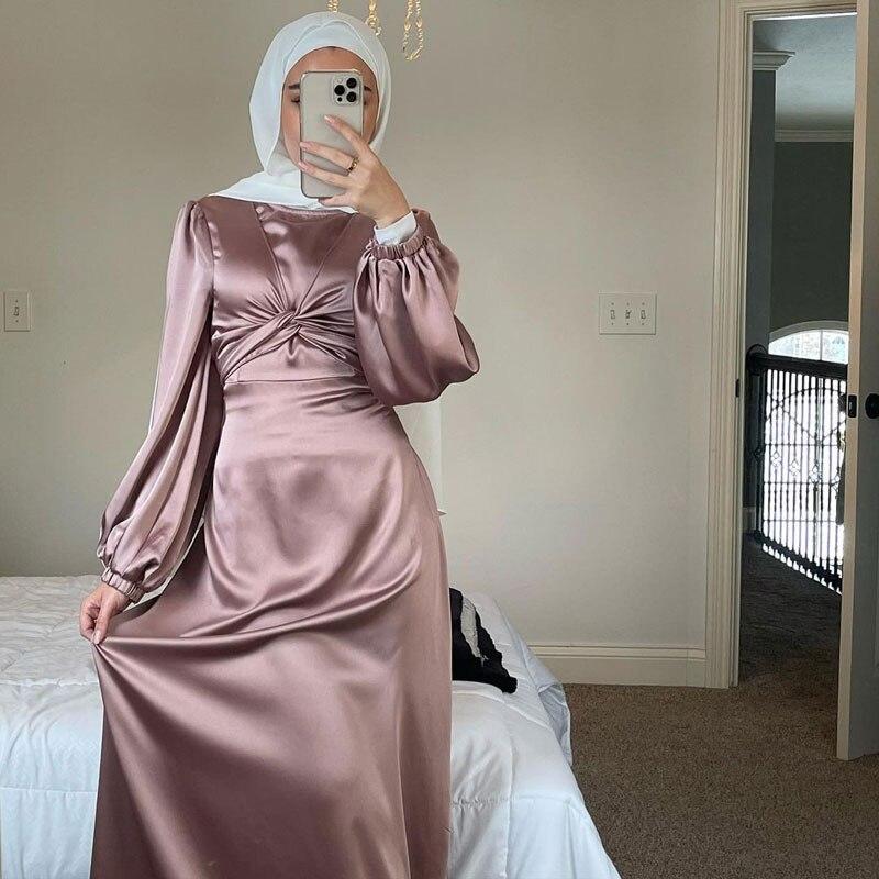 عيد الساتان فستان طويل دبي عباية المرأة مسلم التفاف الجبهة أنيقة طويلة الأكمام الحجاب فساتين رداء الحفلات ملابس تركيا الإسلامية