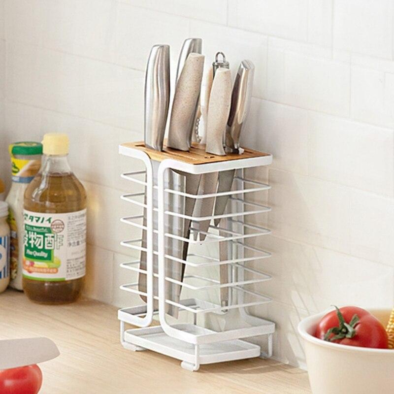 حامل سكاكين المنزلية مع استنزاف صينية المهنية الحديد المطاوع كونترتوب الجوف تخزين الرف المنظم أدوات مطبخ