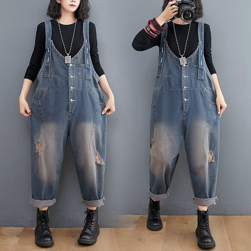 جينز مغسول للخريف حجم كبير ممزق بخياطة أنثوية وزرة كورية غير رسمية من قماش الدنيم بنطلون حريمي M633