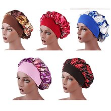 2021 Soft Satin Bonnet Women Elastic Night Sleep Hat Caps Anti Hair Loss Cover Head Wrap Beauty Hair