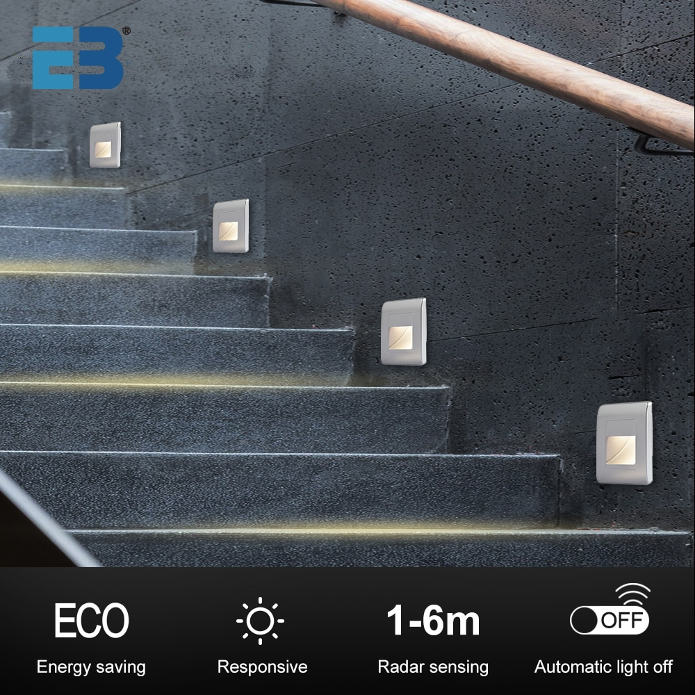 10pcs recessed 1 5w led stair light motion human body induction radar sensor steps ladder wall lamp light with 86 mounting box Led Stair Lights 4 Colors PIR Wall Light Sensor AC110V 220V  Recessed Footlight Corridor Stair Light Motion Induction Wall Lamps