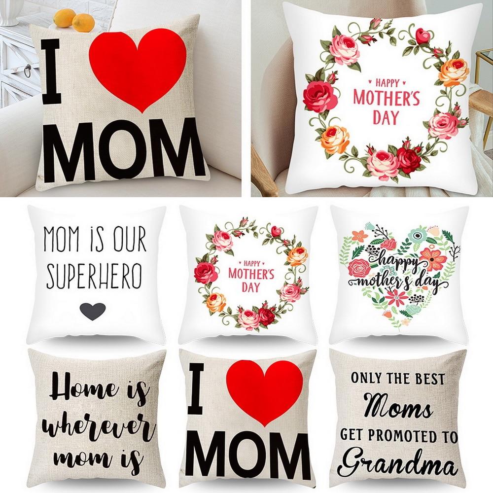 Funda de cojín, funda de lino cuadrada, amor, día de la madre, regalos de cumpleaños, decoración para el hogar, sala de estar, oficina, 45x45cm