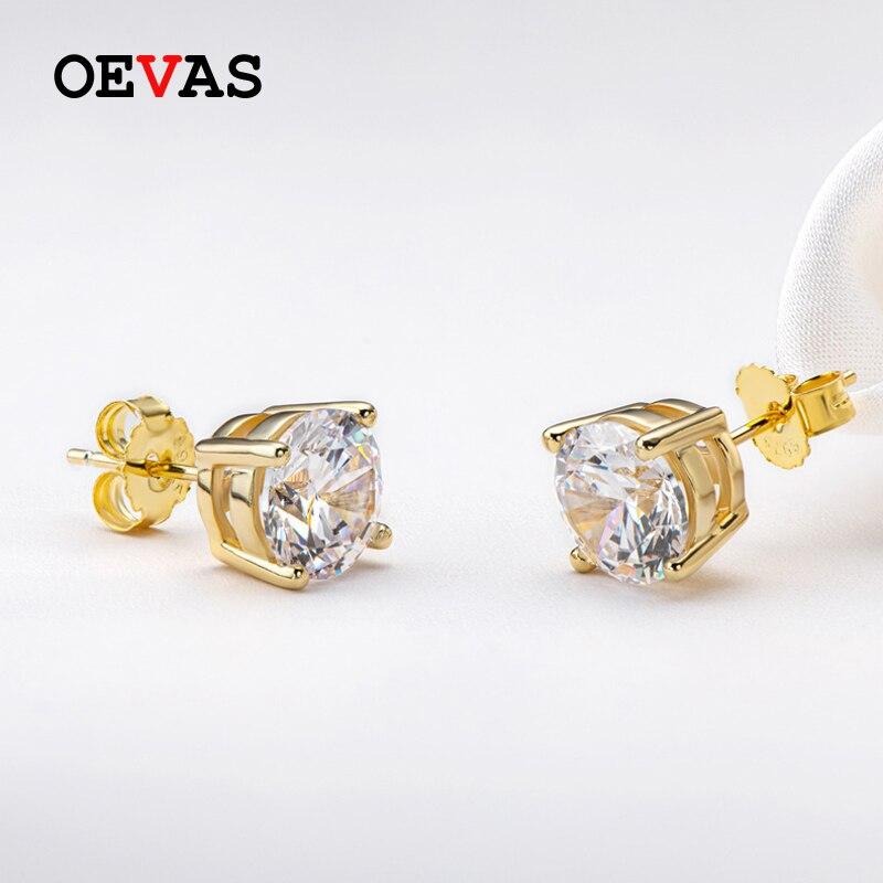 أقراط من OEVAS Real 0.5/1 قيراط D اللون مويسانيتي للنساء 18K لون ذهبي 100% 925 فضة مجوهرات فاخرة لحفلات الزفاف