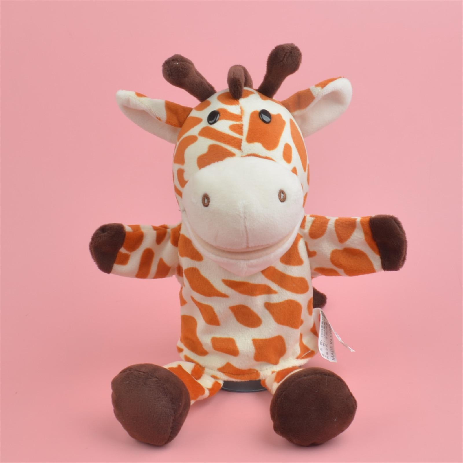 25-30cm lindo juguete de felpa de dibujos animados bebé hipopótamo mariquita Lobo jirafa mapache cocodrilo mano títere bebé contar historia