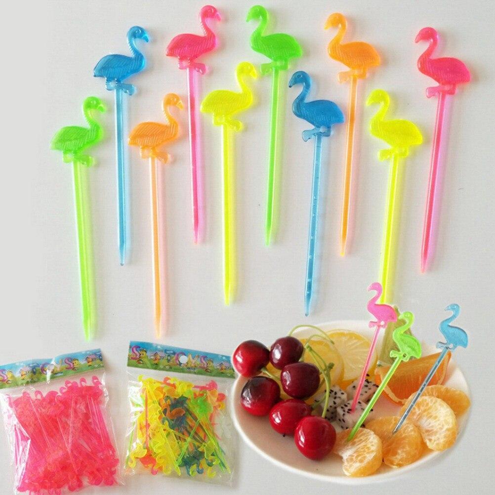 Fiesta suministros 50 Uds Flamingo comida palillos para bufé magdalenas y frutas tenedor pastel postre ensalada palos cóctel palillo brocheta