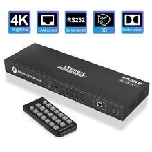Commutateur HDMI 4K HD KVM commutateur HDMI 8 ports jusquà 4K @ 60Hz Ultra HD prise en charge du contrôle IP USB2.0 montage automatique du balayage avec câble KVM 4 pièces