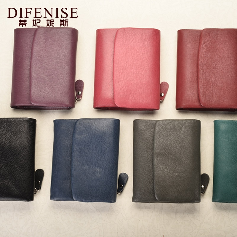 Difenise Trend Women Wallets Genuine Leather Wallet Coin Purse Girl Card Holder Female Short Clutch Bags Carteira Coin Purse  - buy with discount