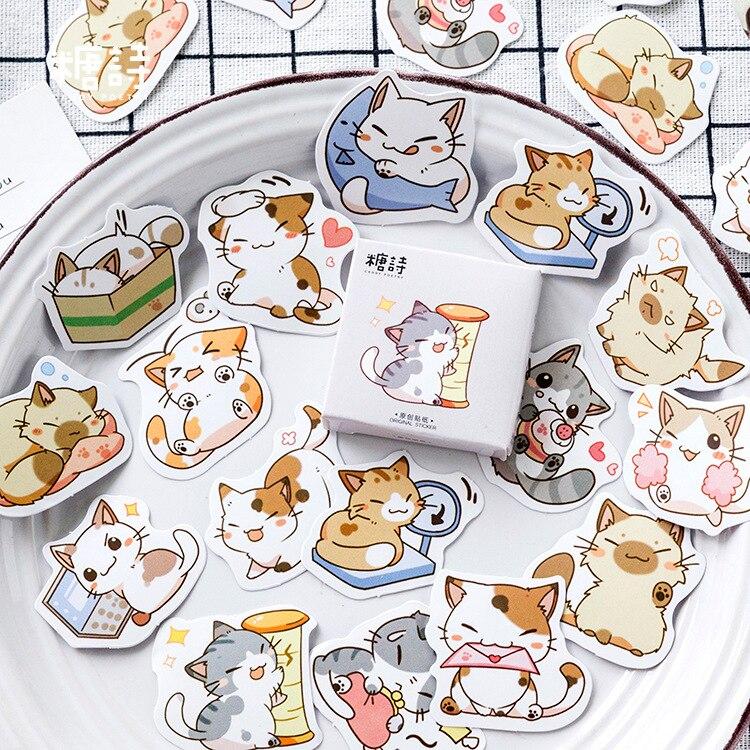 mohamm-45-pcs-adesivi-scrapbooking-gatto-carino-adesivo-di-carta-cartone-animato-fiocchi-accessori-per-ufficio-fissi-forniture-d'arte