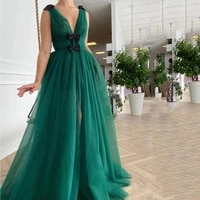 green charming graduation dresses tulle bows pleat v neck sleeveless zipper ball gowns novia do 2021 new party