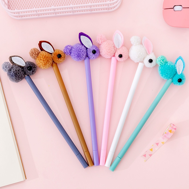36pcs Kawaii Gel Pens 0.38mm Cute Bunny Pens Plush Rabbit Pens for School Office Supplies Creative Stationery Christmas Gift