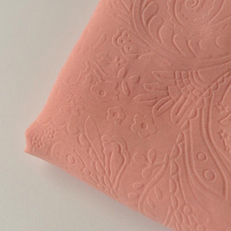 Tela de gasa con relieve sólido, naranja, polvo, plisada, texturizada