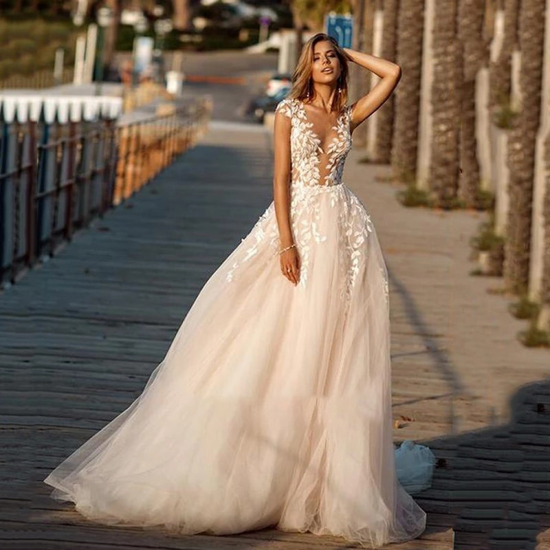 Review Simplicity Wedding Dresses Silky Organza With Train V-neck Sleeveless Bride In Button Appliques Custom Made