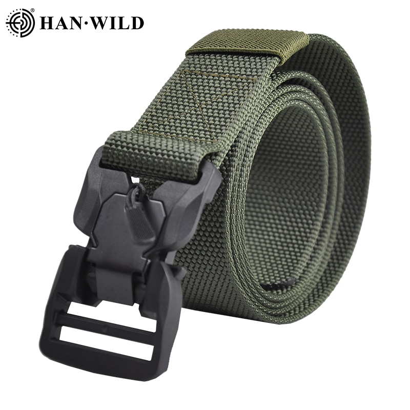 Tactical Belt Military Nylon Belt New Mens Hard Metal Quick Release Magnetic Buckle Mens 3.8mm Soft Real Nylon Sports Belt 135cm enlarge