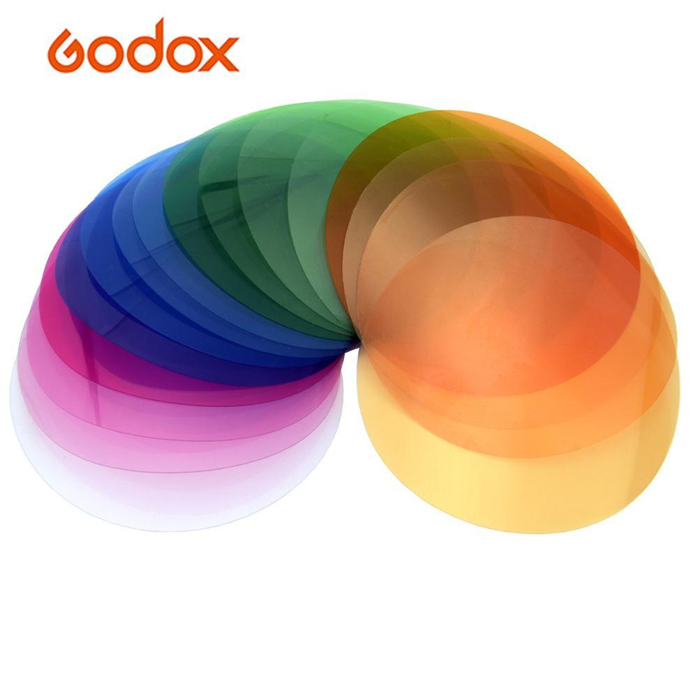 Godox V-11T/V-11C Kit de filtros de Color geles filtros 16 colores diferentes * 2 para cámara serie Godox V1
