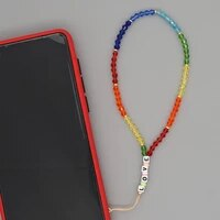 mobile phone lanyard chains rainbow crystal beads wrist strap beaded chain for phone 2021 fashion love letter string
