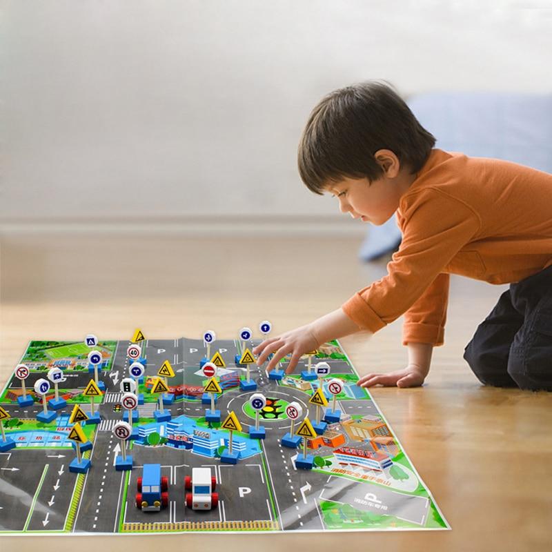 Rua de madeira sinais tráfego carro brinquedo cena estacionamento roadblock sinal com mapa crianças conjunto brinquedo educativo para presentes aniversário