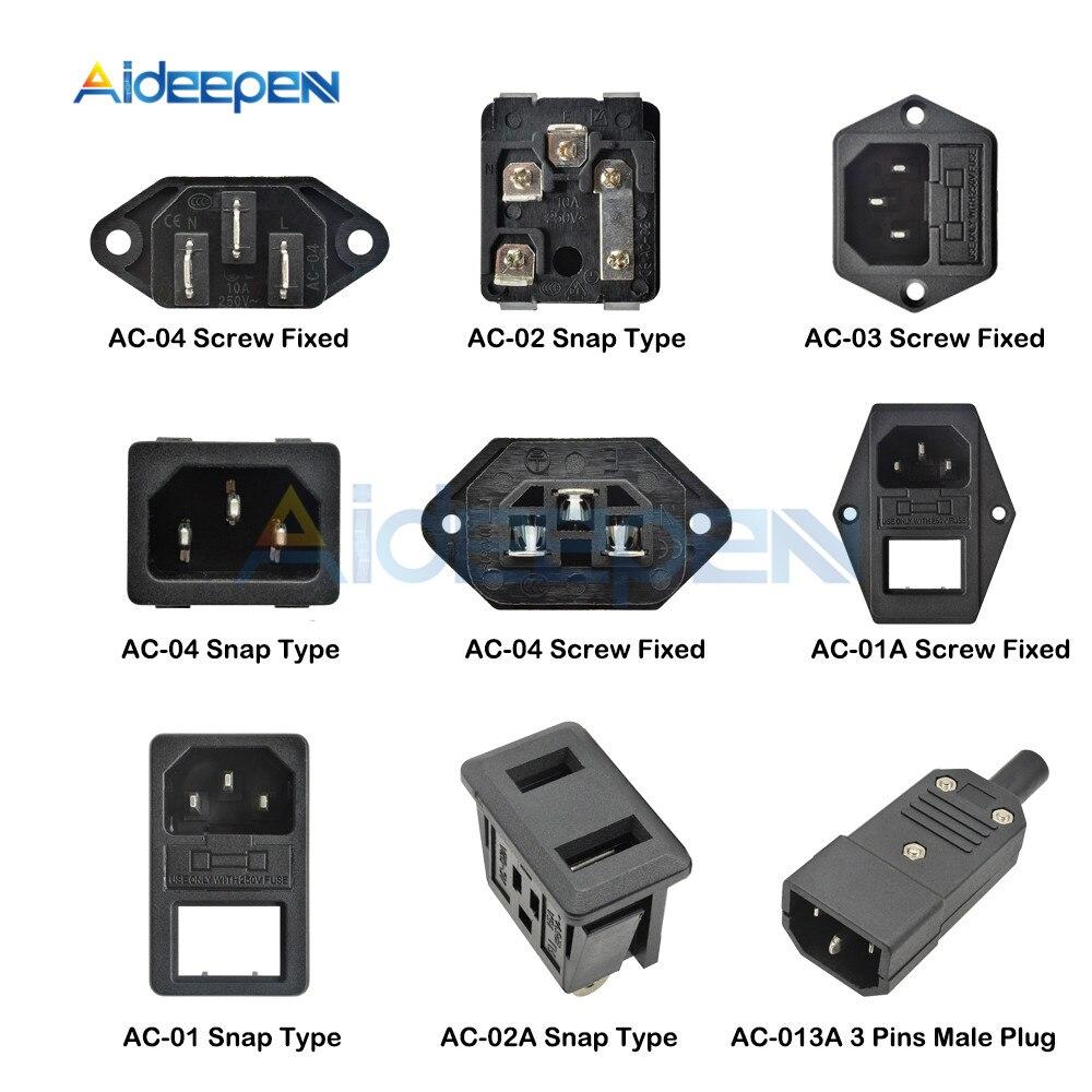 AC-01 AC-01A AC-02 AC-02A AC-03 AC-04 AC-013A IEC320 C14 Tomada Elétrica AC 250V 10A 3 pin Masculino Feminino Plug Conector Do Soquete