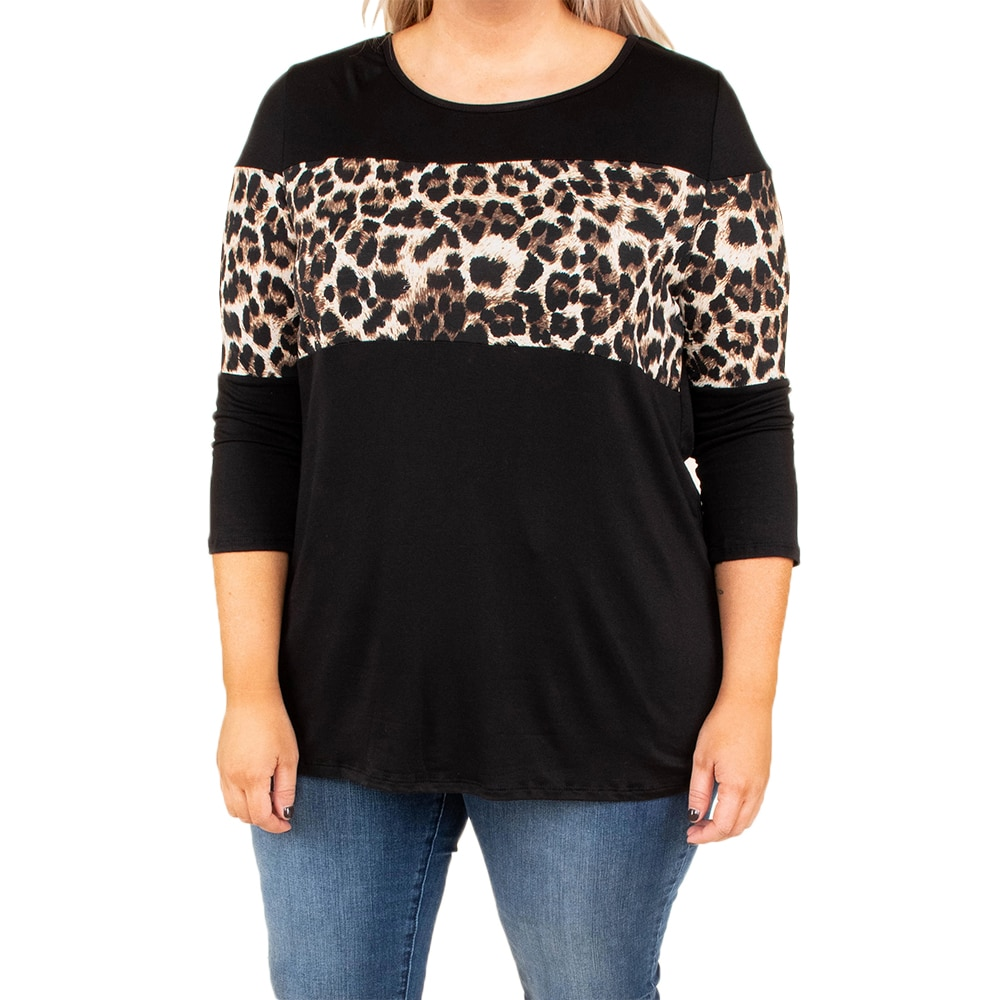 Фото - Распродажа, свободная футболка, женская футболка 150 кг, осенняя футболка с круглым вырезом и длинными рукавами, с леопардовым принтом, футбо... футболка laredoute с круглым вырезом и длинными рукавами massachusetts l белый