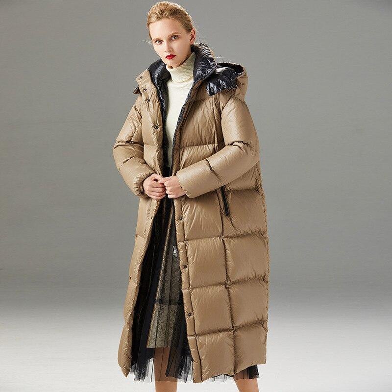 Women down coats luxury autumn winter warm fashion 90% white duck Jackets Female lady long puffer down jacket hooded coffee