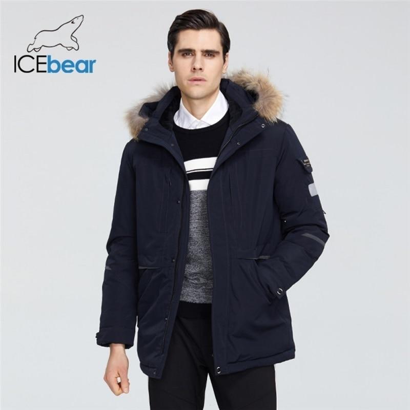 ICEbear 2021 جديد الشتاء الرجال معطف مقنعين سترة عالية الجودة ماركة ملابس للرجال MWD19805I