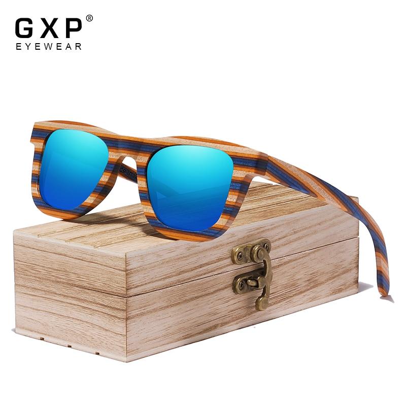 GXP Fashion High Quality Square Colorful Wooden Men Polarized Sunglasses UV400 Women Sun Glasses Outdoor fishing Driving Eyewear
