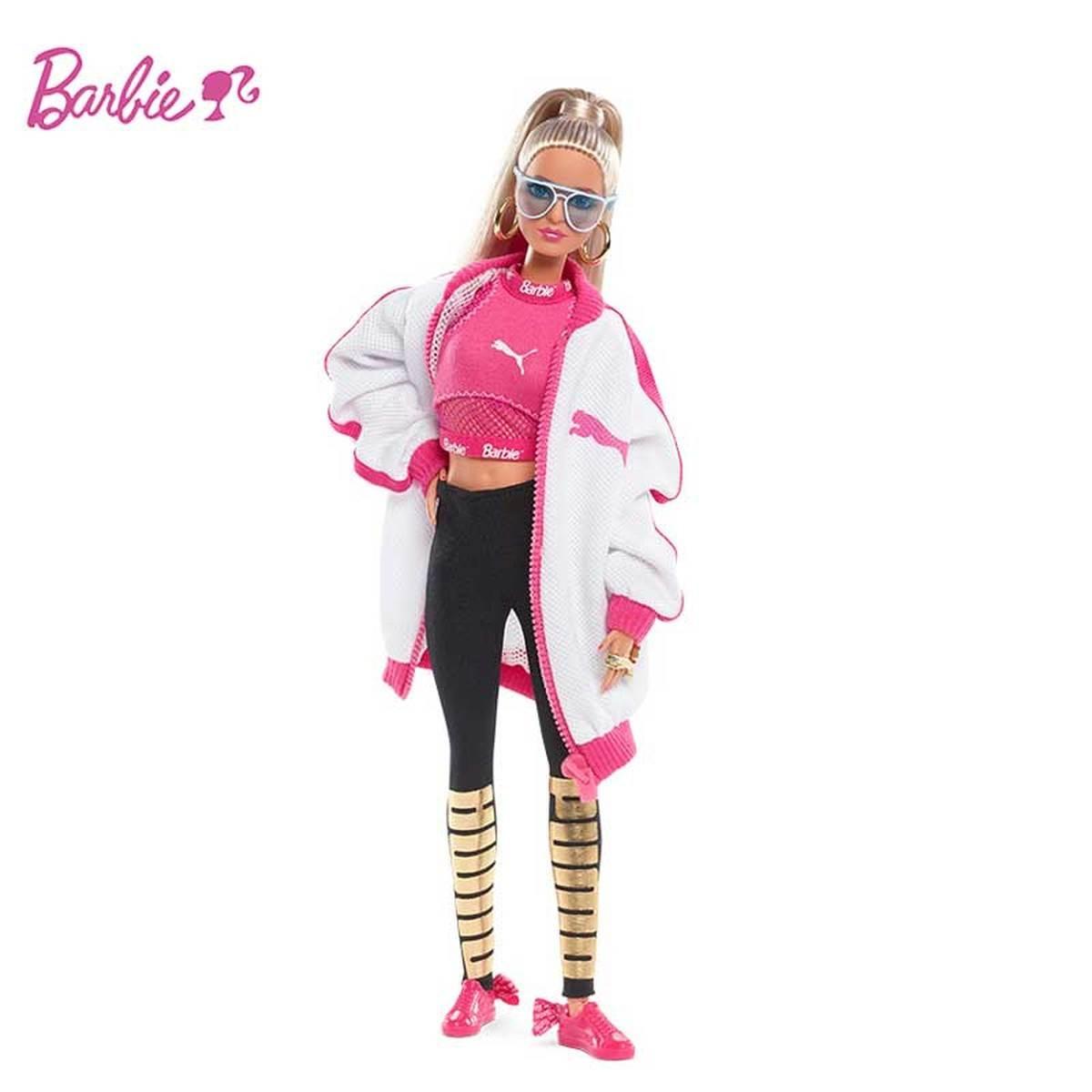 باربي بوما دمية DWF59 المشتركة نموذج الرياضة سترة أنيقة تحمل شعار لعبة البيسبول محدودة جمع الطفل لعبة للفتيات الاطفال الأطفال هدية عيد ميلاد