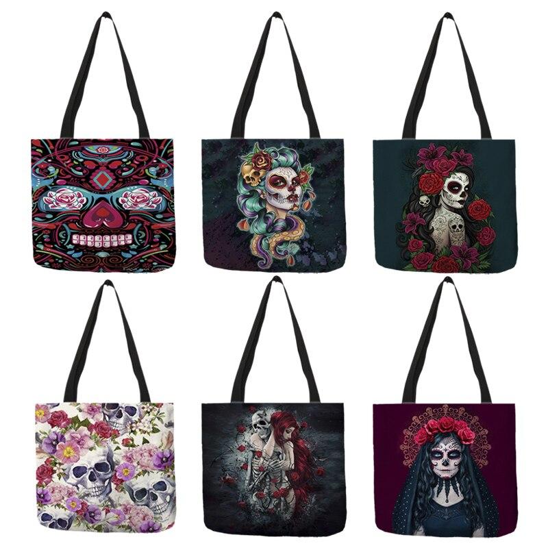 Day of the Dead borse a tracolla con stampa teschio floreale per donna Halloween Sugar Skull Girl