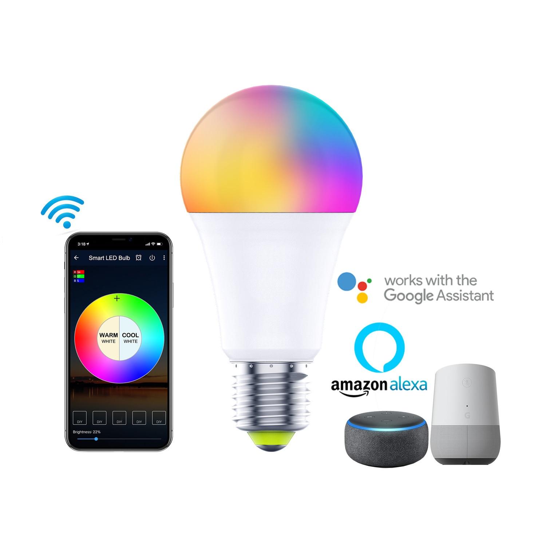 AliExpress - WiFi Smart Light Bulb E27 LED Bulb RGB Lamp Colorful Changing Work With Google Home Alexa