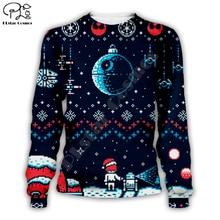 Plstar cosmos star wars natal espaço feio sweateshirt 3d impressão crewneck pullovers casual manga longa outerwear