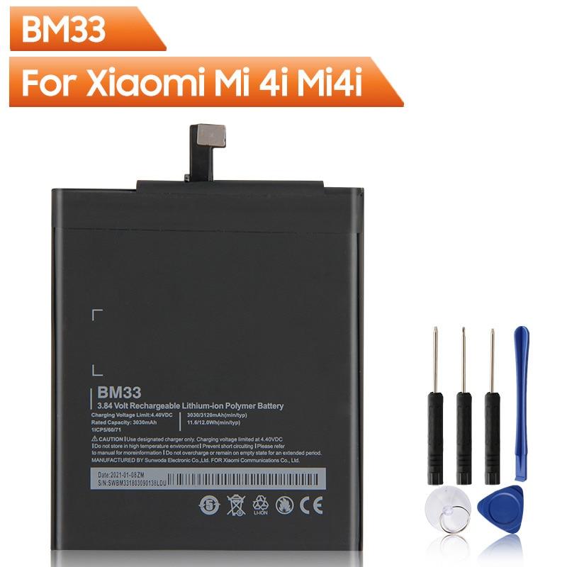Сменная батарея BM33 для Xiaomi 4i Mi4i BM33, оригинальная сменная батарея телефона 3120 мАч с бесплатными инструментами