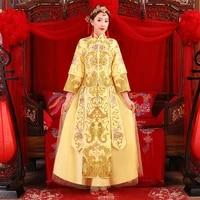 golden cheongsam spring autumn especial fashion chinese bride wedding gown dress suzhou embroidery female golden kimono s xxl