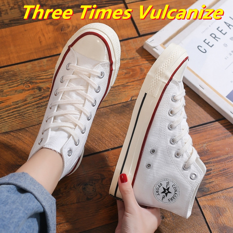 Woman Vulcanize Shoes Women's Canvas Casual Sneakers Girls Sport Summer Three Times Vulcanize High T