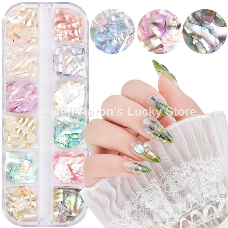 12 uñas de colores de concha de abulón de fragmentos de textura...