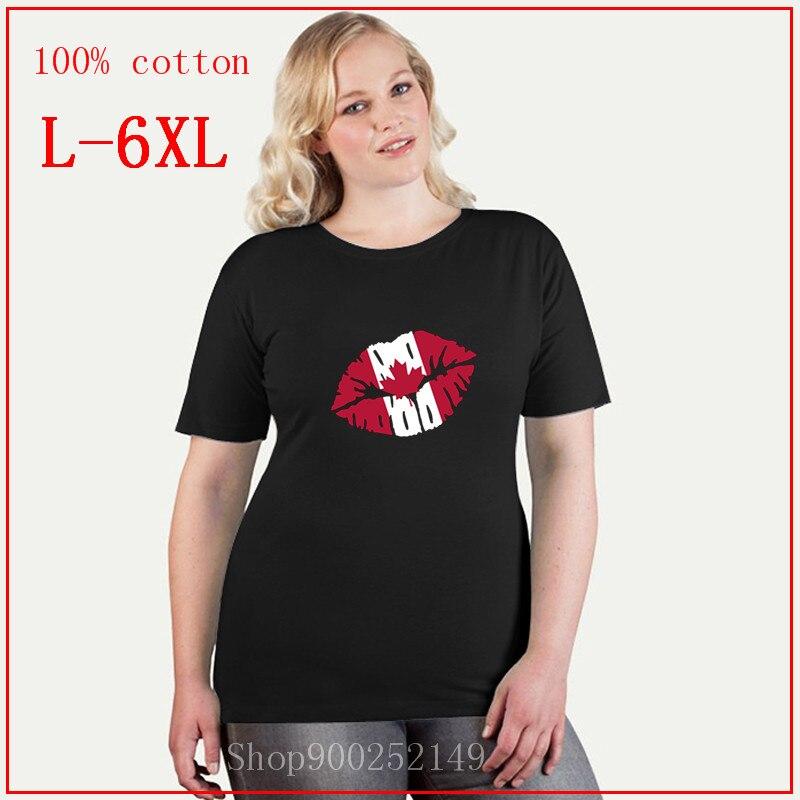 Canadá bandeira beijo t camisa moda casual oversized t camisa 4xl 5xl 6xl tripulação pescoço algodão manga curta roupas femininas verão novo