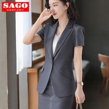 2020 Women Short Sleeve Suit Blazer Jacket Skirt Set Office Lady Formal Peak Lapel Business Coat Outerwear Pocket Femme Thin