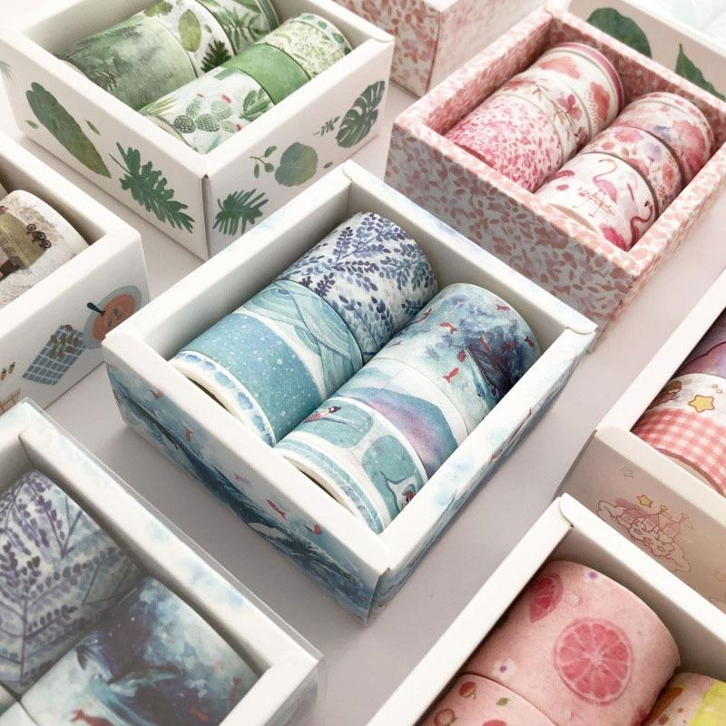 8Rolls/Set Album Craft Adhesive Scrapbook Paper Washi Tape DIY Decorative Stickers Stationery Supplies