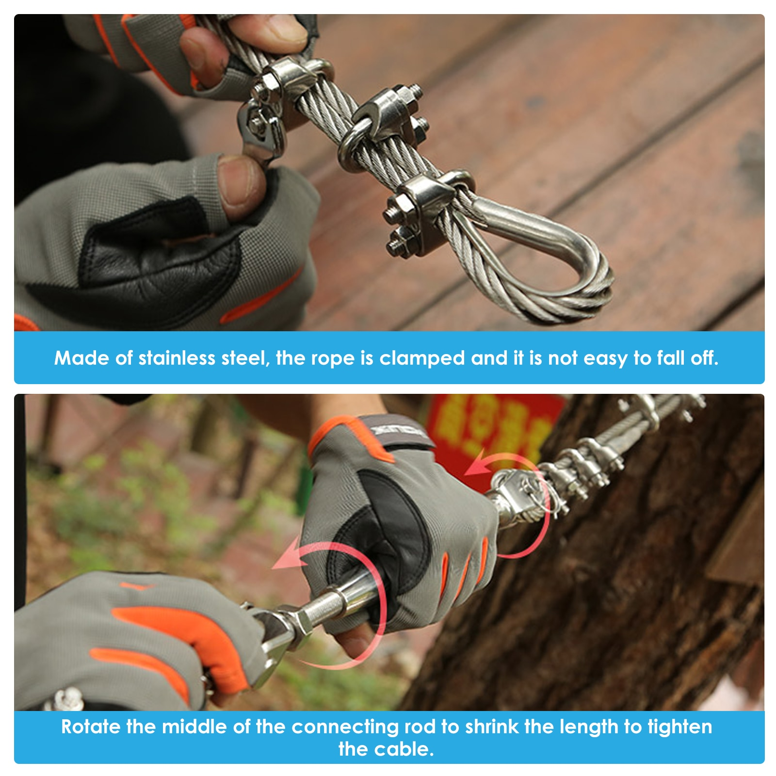 80/100/120FT Heavy Duty Compound Galvanized Steels Cable Zip Line Kit With Stainless Steel Spring Brake Backyard Zipline For Kid enlarge