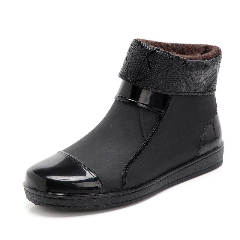 Zapatos resistentes al desgaste antideslizante a prueba de lluvia de barril corto botas de invierno con cubierta gruesa para mujer nieve lluvia zapatos impermeable Unisex