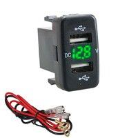 Автомобильное зарядное устройство с двумя USB-портами для Toyota, 5 В, 4,2 А, 1 светодиодный т.