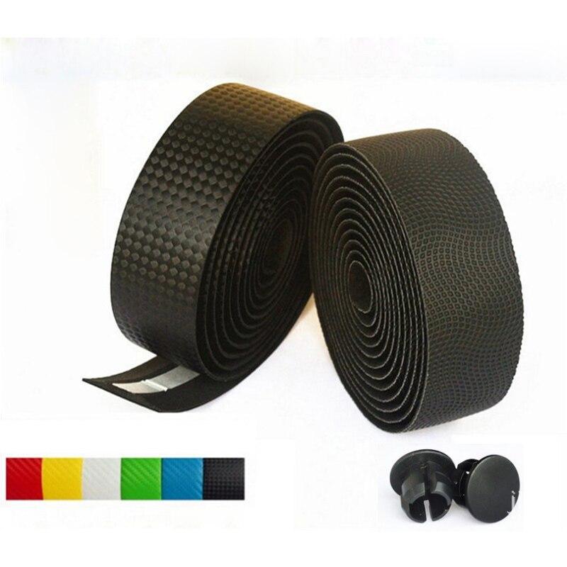 3M Road Carbon fiber Bike HandleBar Tape Cycling Race Bicycle Grips MTB Cork Handlebar Tape +2 Bar Plugs Mountain belt straps