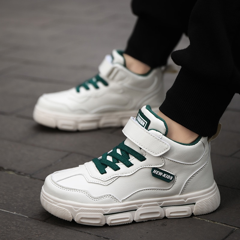 Mid-Calf Boys Shoes Fashion Leather Soft Girls Boots Sport Walking Shoes  sneaker  off white shoes  golden goose sneakers kids