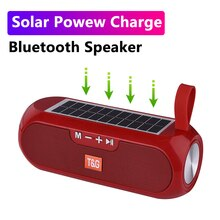 Bluetooth hoparlör taşınabilir kablosuz güneş enerjisi bankası Boombox sütun 3D Stereo müzik kutusu su geçirmez USB AUX FM radyo süper bas