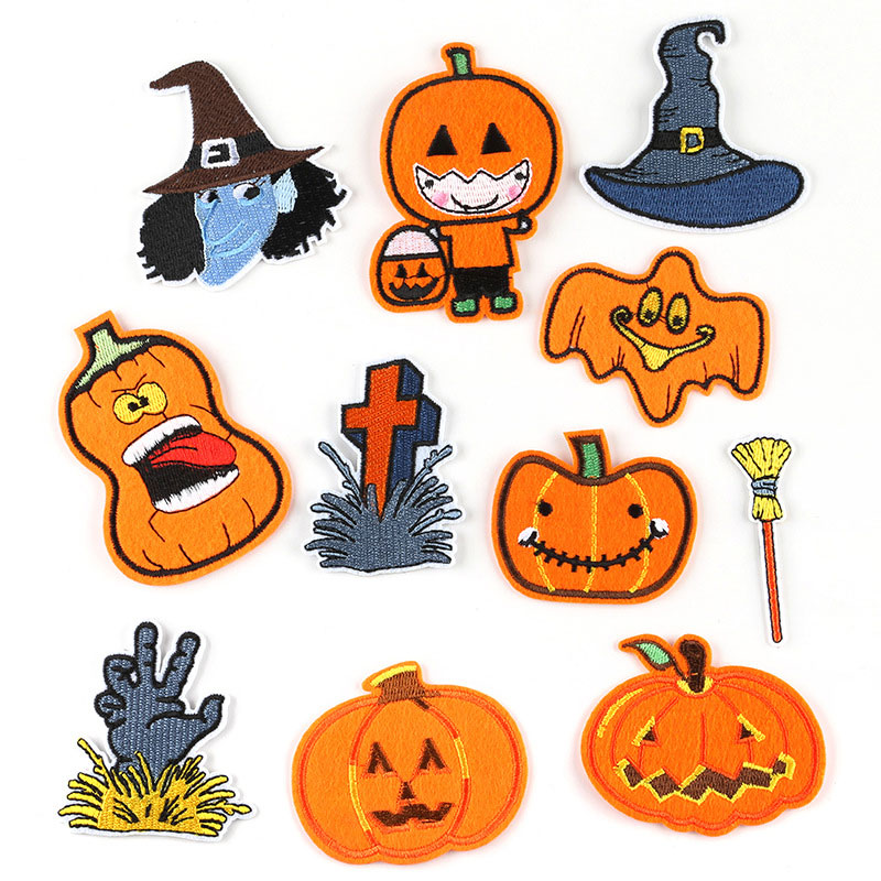 Cartoon Yellow Halloween Pumpkin Sticker Embroidery Iron On Patches For Clothing Skull Cross Applique Clothes Accessories Badges