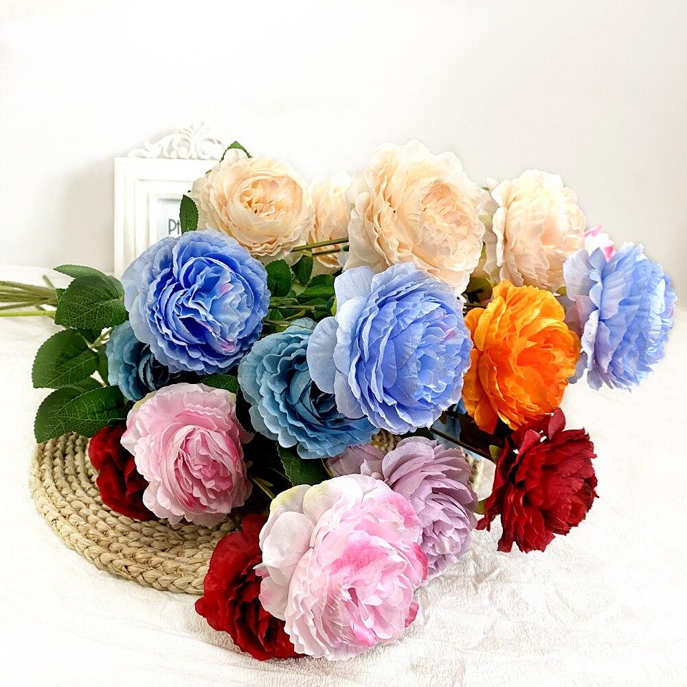 European 1pcs 3-Head peony artificial flower wedding decoration artificial flower home living room d