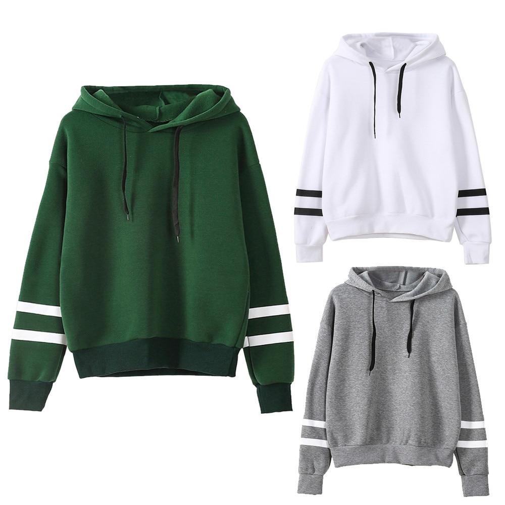 Pure Color Stripe Print Sweatshirts Women Long Sleeve Pullovers Hoodies Casual Sweatshirts 2020 Fash