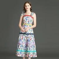 banulin 2021 fashion runway elegant summer dress womens bow spaghetti strap blue vintage floral print holiday boho midi dress