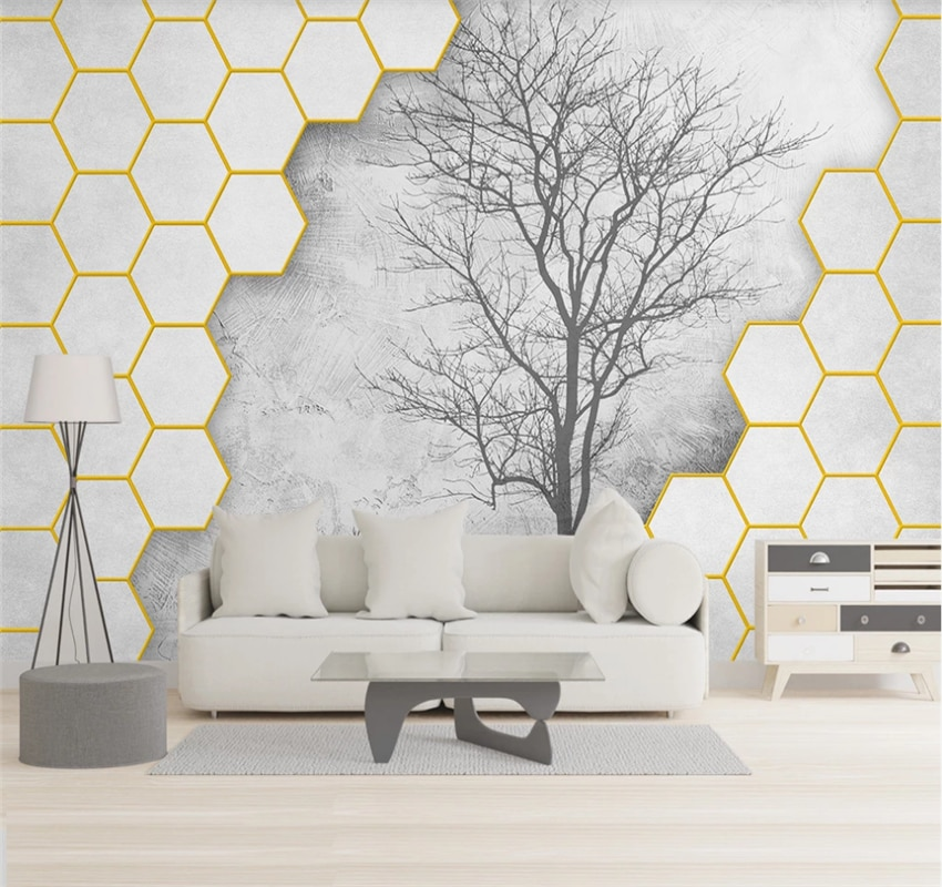 Modern three-dimensional hexagon big tree silhouette elk background wall 3D wallpaper mural covering